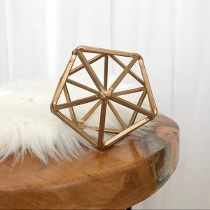 Gold-Tone Geometric Metal Polyhedron Shape